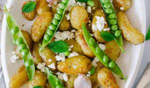 Pommes de terre délicatesses, petit-pois et feta