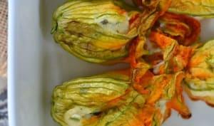 Fleurs de courgettes au four farcies à la ricotta