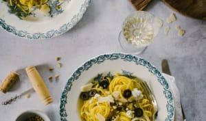 Pâtes aux olives, ricotta et citron