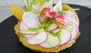 Tartelette aux rillettes de radis, truite fumée et pesto de fanes