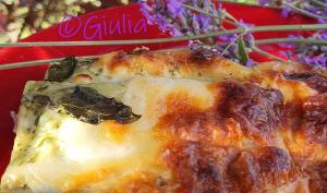 Lasagne au pesto, mortadelle et scamorza