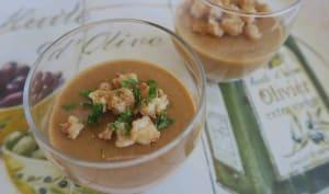 Panna cotta à la bisque de homard, crevettes au Cognac et piment d'Espelette