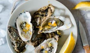 Huîtres au vinaigre de miel, échalote et agrumes