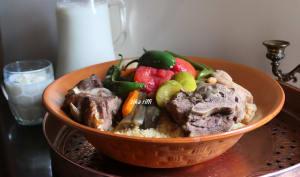 Couscous d'été à l'agneau aubergines et courgettes