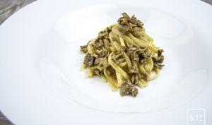 Linguine au Sparassis crispa et au foie gras