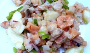 Ceviche de poissons et crevettes aux poires