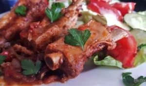 Ribs/ Travers de porc mijotés aux poivrons et à la tomate