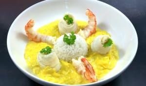 Filets de sole et crevettes à la fondue de poireaux au safran