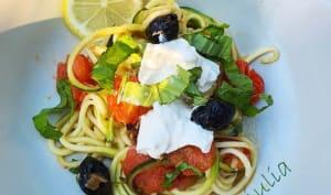 Spaghettis de courgettes aux tomates cerises et Burrata