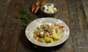 Salade tiède de pommes de terre échalotes écrevisses