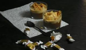 Duo de mousses chocolat caramel et crêpes dentelles