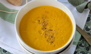 Soupe de carotte, butternut, curcuma et orange