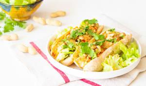 Sandwiches au poulet, carottes et cacahuètes