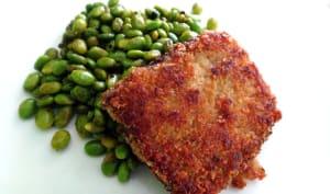 Edamame rissolés avec steak de tofu
