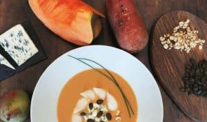 Soupe de patate douce, courge et lait de coco