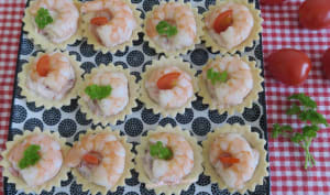 Tartelettes St-Môret aux tomates séchées et gambas