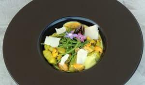 Gnocchis à l'oseille moules sauce courgette et curcuma