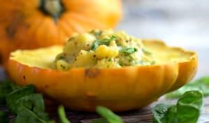 Pâtisson farci à la polenta et moutarde à l'ancienne