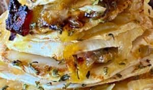 Millefeuille de céleri braisé au four, compotée d'oignons au beaufort et lard paysan,millefeuille,plat complet