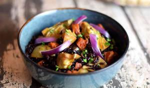 Riz noir au chorizo et artichauts