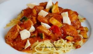 Nouilles au boudin de Rethel et sauce tomate courgette poivron