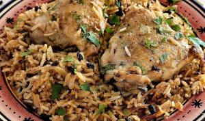 Poulet à l'oignon caramélisé et riz à la cardamome