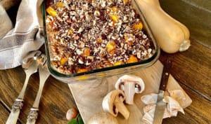 Gratin de pâtes aux champignons butternut et noisettes