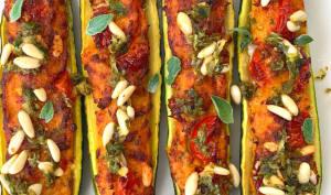 Courgettes farcies avec sa salsa de pignons