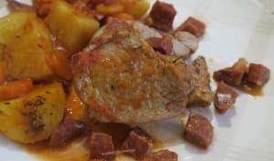 Filet mignon de porc aux carottes, pommes de terre et chorizo