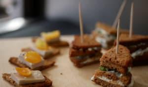 Bouchées de pain d'épices au foie gras et kumquat confit