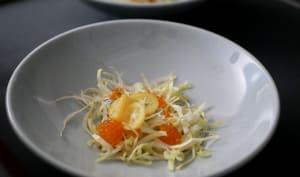 Chiffonnade d'endives sauce crémeuse oeufs de truite et kumquats