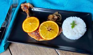 Cuisses de poulet au miel, sauce soja et orange