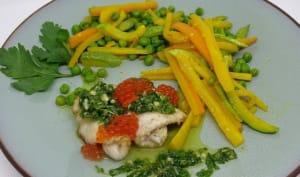 Roulés de sole à la Gremolata, petits légumes au safran et curcuma
