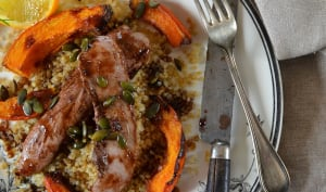 Aiguillettes de canard à l'orange, balsamique et courge rôtie