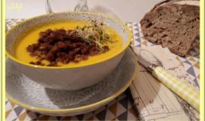Velouté de potiron, carottes, oignons et lait de coco