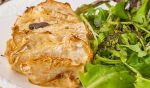 Hasselback de céleri au magret de canard et fromage à raclette
