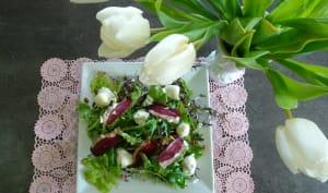 Salade de jeunes pousses aux œufs de caille et magret de canard séché