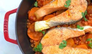 Tajine de saumon, patates douces et ras el hanout