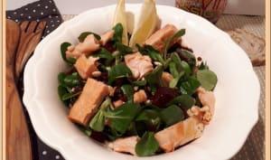 Salade de mâche, betterave, saumon et crevettes