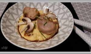 Filet mignon de porc laqué au miel et soja, polenta crémeuse aux champignons