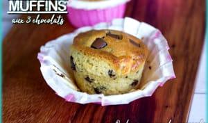 Muffins moelleux aux 3 chocolats