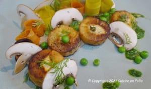 Panais en palets rôtis sur crème de champignons bruns