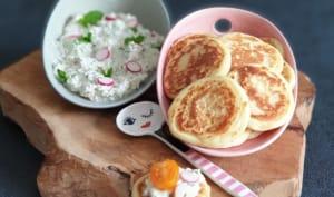 Blinis et tartinade aux radis et concombre