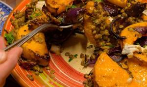 Butternut rôtie, lentilles et gorgonzola