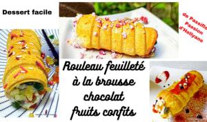 Rouleau feuilleté à la brousse, chocolat et fruits confits