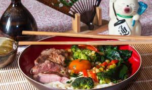 Rāmen et son œuf mariné au soja, porc rôti aux légumes