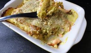 Gratin de ravioles du Dauphiné au saumon et aux poireaux