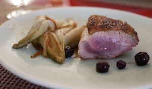 Filet de canard grillé et endives braisées