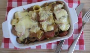 Pâtes à la saucisse de Montbéliard, Morbier et champignons