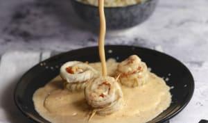 Roulés de sole à la crème de chorizo